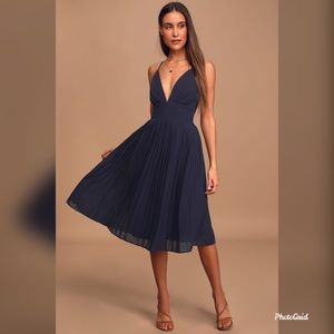 Lulu's Navy Blue Love Me To The Moon Midi Dress